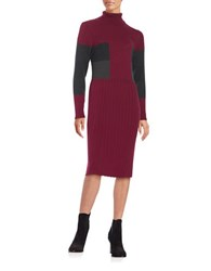 Adrianna Papell Colorblocked Sweater Dress Wine Berry