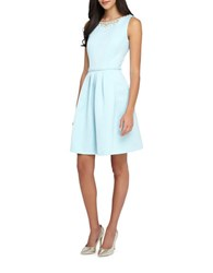 Tahari By Arthur S. Levine Embellished Fit And Flare Dress Ice Blue