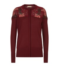 Burberry Lace Yoke Wool Cardigan Female Burgundy