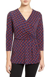 Chaus Women's 'Dot Armada' Print Pleat Front Faux Wrap Top