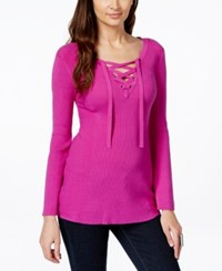 Inc International Concepts Petite V Neck Lace Up Sweater Only At Macy's Magenta Flame