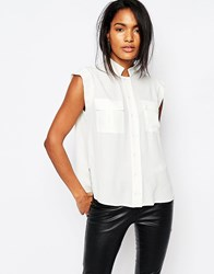 Y.A.S Rhina Sleeveless Shirt With Pockets White