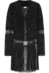Talitha Ghara Fringed Embroidered Silk Georgette Jacket Black