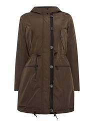 Andrew Marc New York Parka Style Coat With Faux Fur Lining Green