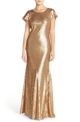 Women's Candela 'Toulouse' Sequin Cowl Back Gown Gold