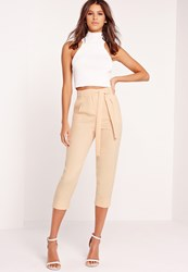 Missguided Crepe Tie Waist Tapered Trousers Nude Beige