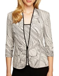 Alex Evenings Plus Printed Jacket And Scoopneck Top Set Silver Black