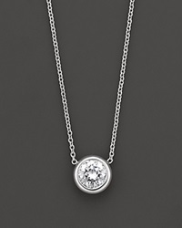 Roberto Coin 18 Kt. White Gold Bezel Set Diamond Solitaire Pendant 0.24 Ct. T.W. No Color