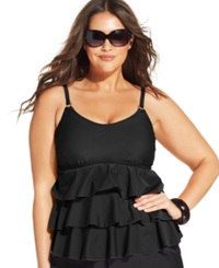 Island Escape Plus Size Tiered Ruffle Tankini Top Women's Swimsuit