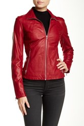 Kenneth Cole Faux Leather Jacket Red