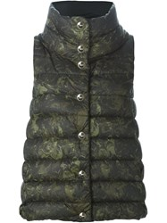 Herno Printed Padded Gilet Green