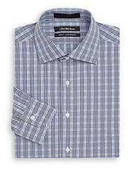 Saks Fifth Avenue Slim Fit Gingham Check Cotton Dress Shirt Blue