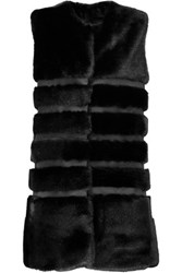 Ainea Faux Fur And Satin Vest Black