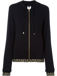Versace Velvet Medusa Zipped Up Cardigan Black