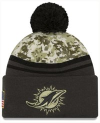New Era Men's Miami Dolphins Salute To Service Official Pom Knit Hat Charcoal Camo