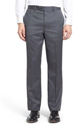 Men's John W. Nordstrom Flat Front Solid Wool Trousers Mid Grey