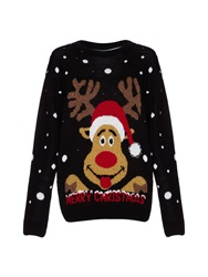 Mela Loves London Christmas Reindeer Jumper Black