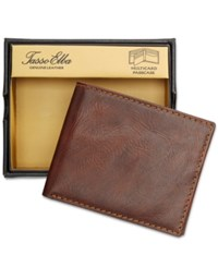 Tasso Elba Men's Leather Portici Multi Card Passcase Only At Macy's Saddle