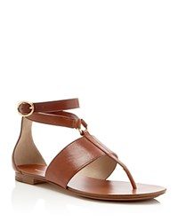 Michael Kors Candice T Strap Flat Sandals Luggage Gold
