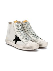 Golden Goose Perforated Leather High Top Sneakers White Black Golden