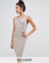 Vesper Pencil Dress With Origami Detail Taupe Tan
