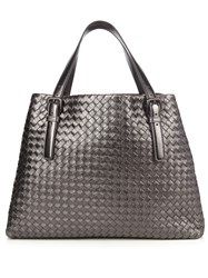 Bottega Veneta Intrecciato Large Leather Tote Dark Grey