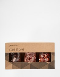 Paperchase Get Organised Set Of 3 Copper Clip And Pin Jars Multi