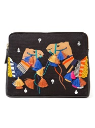 Lizzie Fortunato Jewels Embroidery Camel Clutch Black
