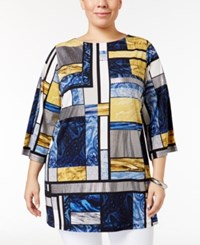 Jm Collection Plus Size Multi Print Tunic Only At Macy's Pattern Block