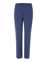 Howick Folcroft Textured Suit Trousers Blue