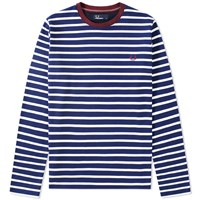 Fred Perry Long Sleeve Breton Stripe Tee Blue