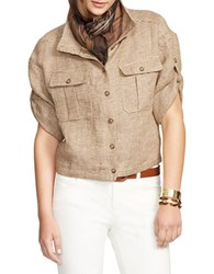 Lauren Ralph Lauren Linen Tweed Jacket Brown