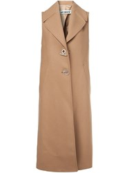 Off White Sleeveless Mid Lentgh Coat Nude And Neutrals