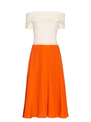 Emilio De La Morena Tasman Contrast Panel Off The Shoulder Dress Orange White