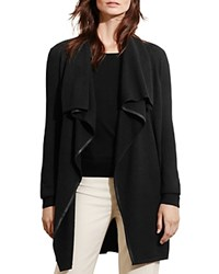 Ralph Lauren Faux Leather Trim Draped Cardigan Black