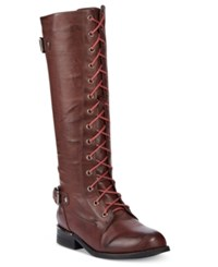 Wanted Cocktail Lace Up Riding Boots Women's Shoes Burgundy