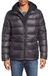 Men's Black Rivet Quilted Down Puffer Jacket With Removable Knit Hooded Zip Bib