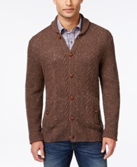 Tasso Elba Shawl Collar Cable Knit Cardigan Only At Macy's Walnut Nep