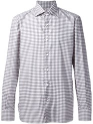 Isaia Casual Checked Shirt Grey