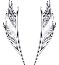 Shaun Leane White Feather Silver And Mother Of Pearl Earrings