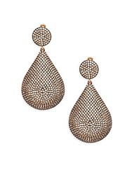 Azaara Pave Champagne Crystal Teardrop Earrings Silver Gold