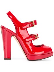 Alexander Mcqueen Double Buckle Sandals Red