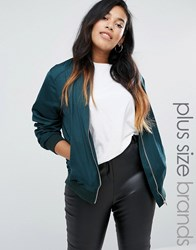New Look Plus Sateen Bomber Green