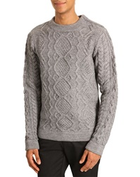 Eleven Paris Cable Knit Sweater Kof Shoulder Zip Gray