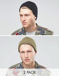 Asos Fisherman Beanie 2 Pack In Black And Olive Multi
