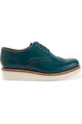 Grenson Emily Leather Brogues Petrol