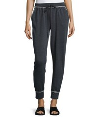 Max Studio Contrast Trim Drawstring Pants Charcoal N