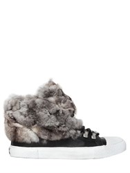 Black Dioniso 20Mm Chinchilla Fur And Leather Sneakers