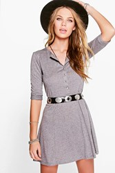 Boohoo Panelled Skater Dress Grey