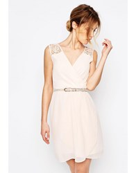 Yumi Uttam Boutique Crochet Trim Belted Dress Nude Pink
